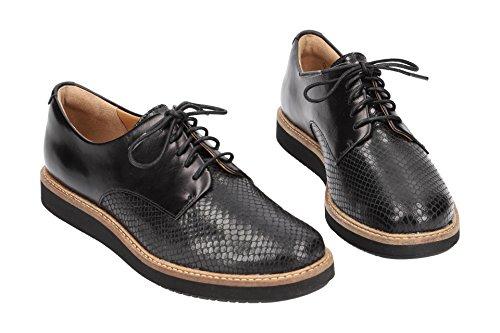 con Mujer Lisa Zapatos 26120449 4 Piel Cordones de Clarks Negro FPtw6q6