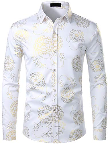 ZEROYAA Men's Hipster 3D Golden Floral Printed Slim Fit Long Sleeve Button Down Dress Shirts ZZCL32 White X Large