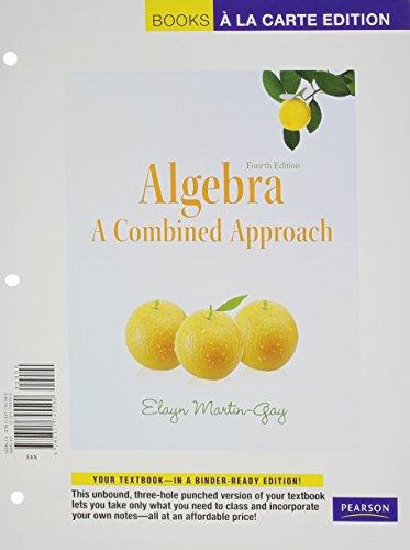 Algebra: A Combined Approach, Books a la Carte Plus MML/MSL Student Access Code Card (for ad hoc valuepacks) (4th Editio