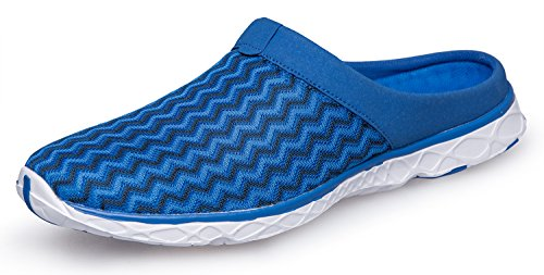Pooluly Men's Outdoor Breathable Water Slippers Lightweight Athletic Water Shoes, Blue, 46 EU 11 D(M) US