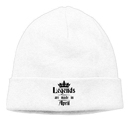 Unisex Legends Are Made In April - Birth Month Unisex Cuffed Plain Skull Beanie toboggan Knit Hat/Cap - Legends In Kc