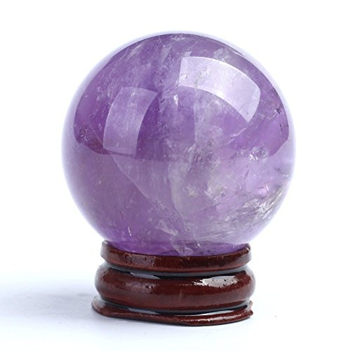 - Natural Amethyst Quartz Crystal Sphere Ball Healing Stone 55mm