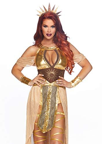 Leg Avenue Women's 3 Pc Sun Goddess Costume, Gold, Medium