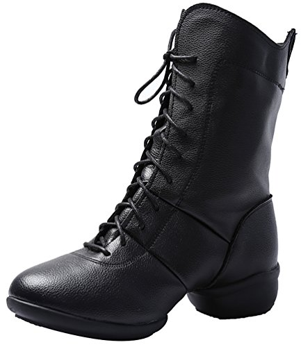 Abby 1813 Womens Party Comfy Closed Round Toe High Top Lace-up Square Split Heel Dance Shoes Black(pu Inner) 6n1FTg