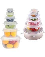 Miracle Silicone Stretch Lids 12 PACK Airtight Magic Stretchy Lids For Food Storage and Fresh Keeping, Reusable Silicone Food Covers Huggers For Containers Like Bowls Cans Jars Bottles Pots and Pans