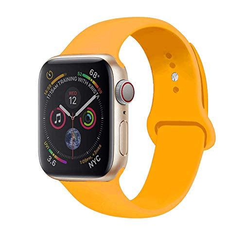 Sport Band Compatible with Apple Watch, Premium Sport Durable Soft Silicone Bracelet Wrist Strap Replacement Band for Series 5 4 3 2 1 (42MM/44MM M/L Spicy Orange)