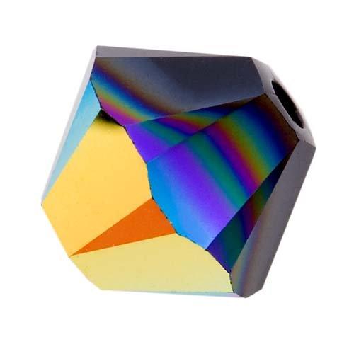 Swarovski Crystal, #5328 Bicone Beads 4mm, 24 Pieces, Jet AB