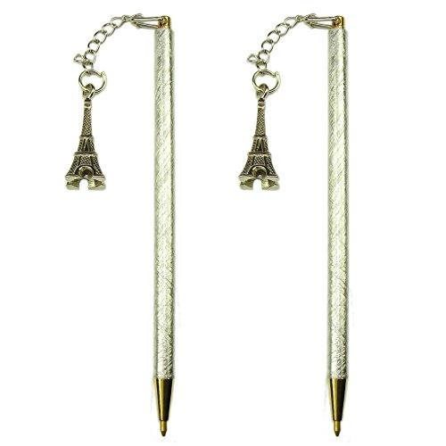 Souvenirs of France - 2 x Paris Eiffel Tower Thin Pens - Color: Silver