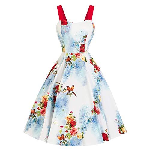 Uccellli Retrò con Fantasia Hearts amp; Roses Blu Floreale Vintage London Tè da 1950s Svasato Abito Rosso wRCUna