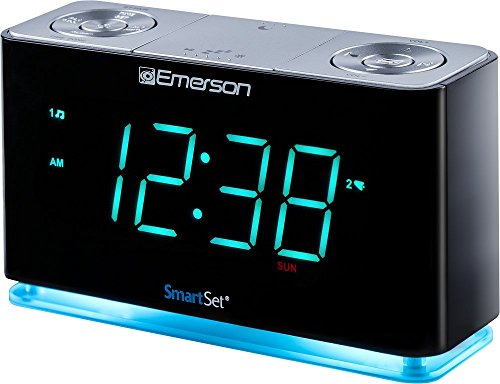 Emerson SmartSet Alarm Clock Radio with Bluetooth Speaker, Charging Station/Phone Chargers with USB port for iPhone/iPad/iPod/Android and Tablets, ER100301 ()