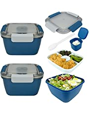 Premium Salad Container for Lunch,52-oz Salad Bowls with 3-Layered Compartments+1-Dressing Container+1-Reusable Forks, Used to meal pre-prepare Food Fruit Snack,Leak Proof Design(2 Packs Pink)