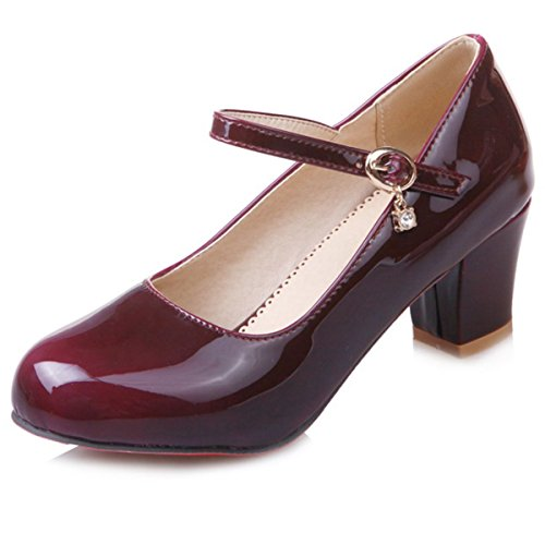DecoStain Women's Causal Patent PU Leather Ankle Strap Mary Janes Block Mid Heel Pumps Shoes