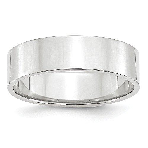 14k White Gold Flat Band (Solid 14k White Gold 6mm Flat Wedding Band Size 9.5)