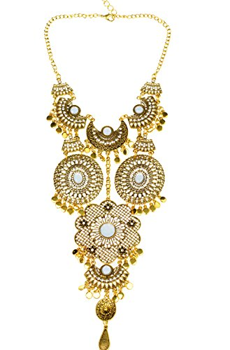 Veenajo Vogue Retro Style Silver Long Bohemian Turkish Statement Necklace for Women From Indian (Homemade Kids' Tin Man Costume)