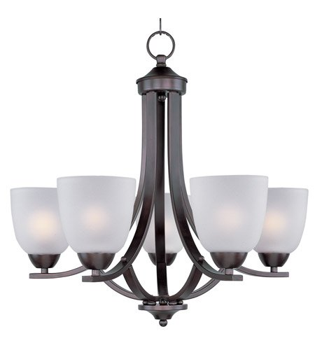 Maxim Lighting 11225FTOI Five Light Frosted Glass Up Chandelier, Oil Rubbed Bronze