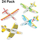 """Mini Foam Glider Plane - 4"""" X 3.5"""" – 24 Pack – Assorted Colors And Designs Foam Airplane Flying Gliders - For Kids Great Party Favors, Bag Stuffers, Fun, Toy, Gift, Prize - By Kidsco"""