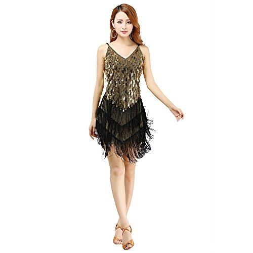 WU de pour Danse NA Les de SHENG Jupe Latine Gold de Filles Latine Frange Gland Danse Sexy YI Robe ZvFEfqwq