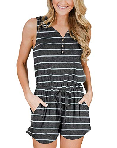 Striped V-neck Shorts - MIROL Women's Summer Sleeveless V Neck Striped Floral Short Elastic Waist Button Down Jumpsuit Rompers with Pockets
