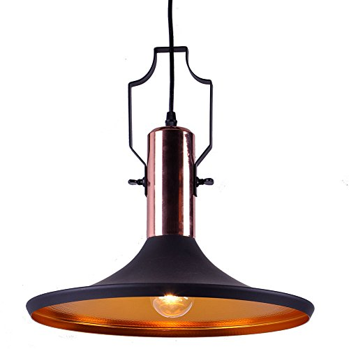 MSTAR Industrial Black Pendant Light, Kitchen Bar Lighting Fixture, Restaurant Pendant Light Shade with Antique Copper Deco