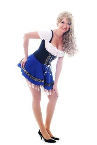 Disfraz para mujer traje vestido: traje azul típico chica camarera alemana verde Oktoberfest Baviera Alemania L033