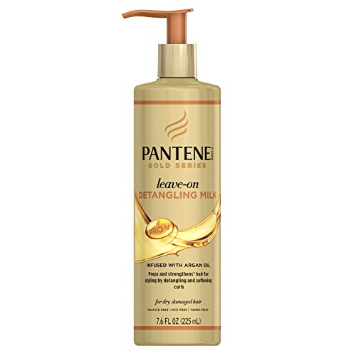 Treatment Milk - Pantene, Detangling Milk Hair Treatment, Sulfate Free, Pro-V Gold Series, for Natural and Curly Textured Hair, 7.6 fl oz