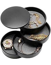 صندوق وأقراط دائرية لتنظيم المجوهرات من AINAAN مكونة من 4 طوابق لتخزين الحقيبة والقلادة والسوار وصينية عرض دوارة 360 درجة، 2019، أسود