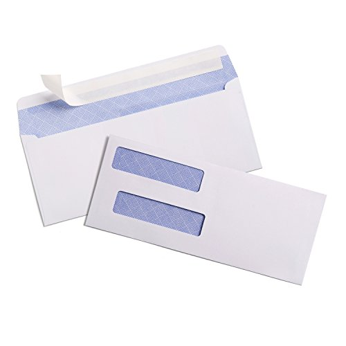 Custom Window Envelopes - 100 #8 Custom Double Window Check Envelopes by Sigma Source Self Sealing Security Tinted for Small Business Payroll Paycheck Quickbooks Checks, Computer Checks, Laser Checks (DOES NOT FIT INVOICES)