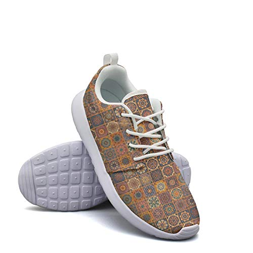 - Heart Wolf Brown Color Yellow Checkered Patterns Sneakers for Womens Sports Shock Absorption Running Shoes Girls