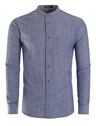 - TATT 21 Men Banded Collar Shirt Washed Cotton Long Sleeve Casual Button Down Shirts L Blue
