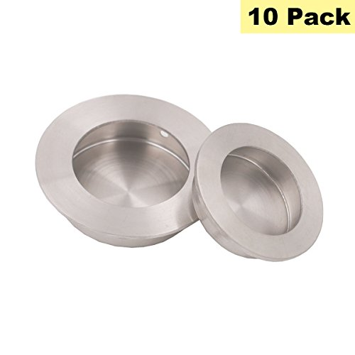 Brushed Nickel Recessed Drawer Pulls Furniture Sliding Door Hardware - Peaha MC001-50 Round Flush Pull Outside Diameter 2in(50mm) Kitchen Cabinet Knobs 10 Pack (Pull Outside Flush)