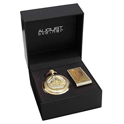 August Steiner Men's AS8144YG Silver & Gold Etched Train Design Quartz Pocket Watch & Money Clip -