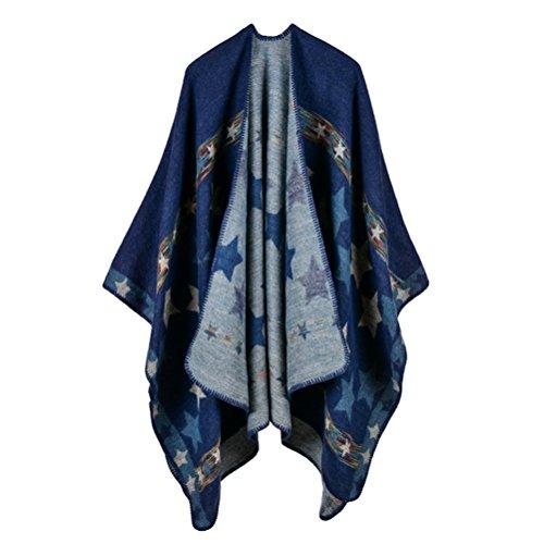 Jelinda Women Blanket Shawl Wrap Open Poncho Cape Winter Large Warm Star Scarf (navy) ()