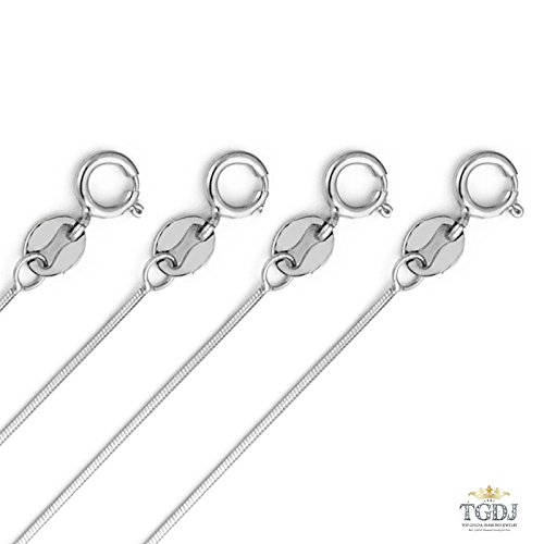 14k White Gold SOLID 0.7mm Cut Snake Chain with Lobster Claw Clasp - /16/18/20/22'' (22 Inches) by Top Gold & Diamond Jewelry