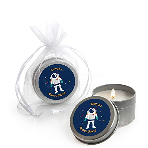 Personalized Blast Off to Outer Space - Custom Candle Tin Rocket Ship Baby Shower or Birthday Party Favors - Custom Text - Set of 12