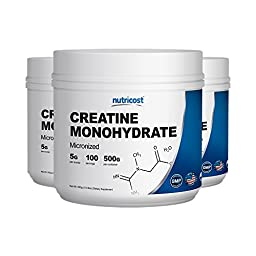 Nutricost Creatine Monohydrate 500G (3 Pack) - 5000mg Per Serv, 500G and 400 Servings Each - Pure Creatine Monohydrate - Explosive Energy & Power