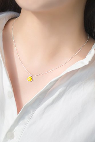 Cute Little Yellow Chicken Drop Chicks s925 Silver Enamel Short Necklace Pendant Clavicle Chain Gift Women Girls Models