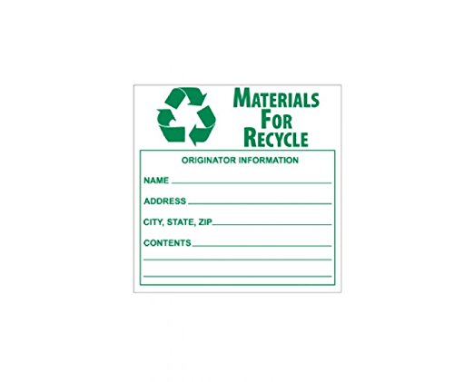National Marker Corp. HW34AL Labels, Material For Recycle, 6 Inch X 6 Inch, PS Paper, 500/Roll by National Marker