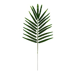 Blue Panda Faux Fern Leaves - 12-Pack Fake Tropical Leaves, Artificial Palm Leaves Hawaiian Luau Party, Pool Party Decorations, Green, 21 x 10.2 inches 4