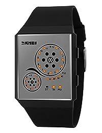 Mastop Unisex Watches Digital Sport Binary Led Watch Band 50M Waterproof Wristwatch (Black