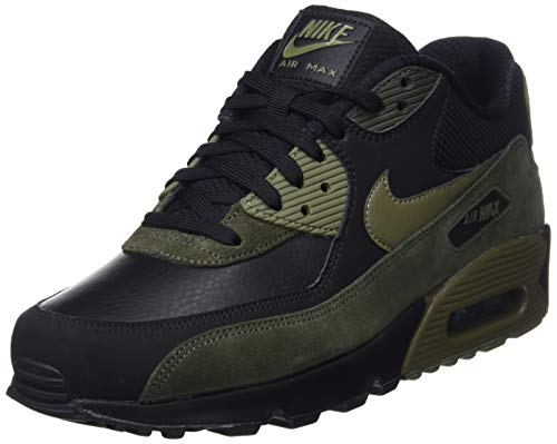 Nike Mens Air Max 90 Leather Running Shoes BlackMedium