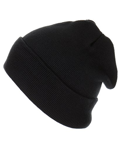 ab168d87aff RufnTop Thick Plain Knit Beanie Slouchy Cuff Toboggan Daily Hat Soft Unisex  Solid Skull Cap
