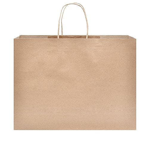 Halulu 250pcs 16x6x12 Brown Kraft Paper Gift Bag Shopping, Mechandise, Party Bags by GSSUSA