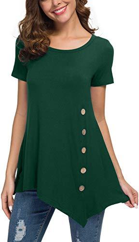 (Jouica Women's Short Sleeve Scoop Neck Button Side Tunic Top Dark Green XL)