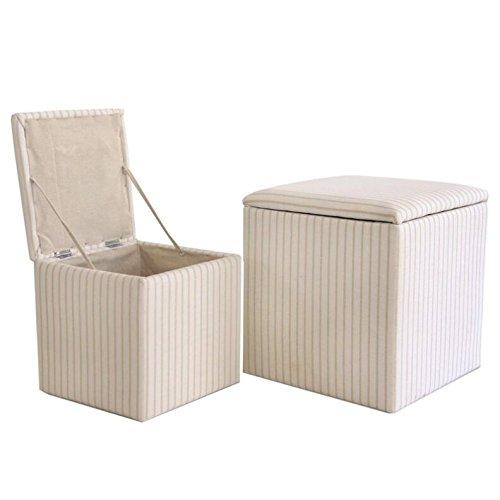 D'casa Set 2 Sitzkissen - Puf -Puff -Pouf Behälter Beige Streifen