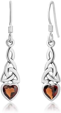 925 Sterling Silver Celtic Knot Red Garnet Gemstone Heart Drop Dangle Hook Earrings