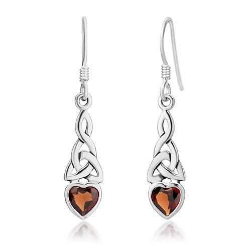 Celtic Knot Heart Earrings (925 Sterling Silver Celtic Knot Red Garnet Gemstone Heart Drop Dangle Hook Earrings)