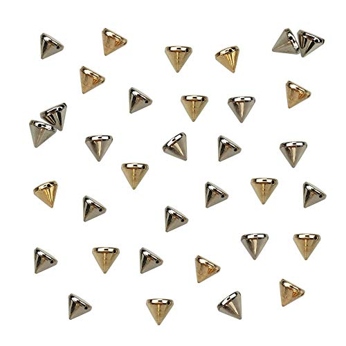 200PCS Silver and Gold Acrylic Bullet Cone Spike Studs Bead, Sew On, Glue On, Stick On by - Cone Gold Rivet