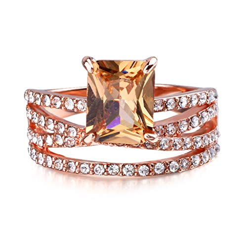 Agelloc Personalized Detachable Rings Luxurious Rhinestone Inlaid Engagement Wedding Band Ring Affordable Simulated Geometric Square Topaz Diamond Ring Rose Gold Ring Jewelry (Rose Gold, 7)