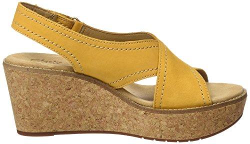 Clarks Aisley Tulip, Sandalias con Cuña para Mujer Amarillo (Yellow Nubuck)