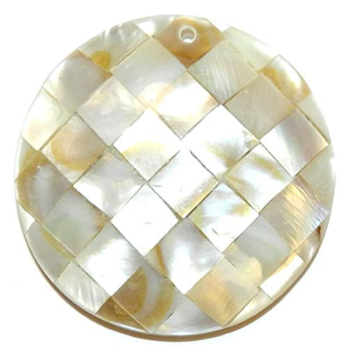 - Golden Black Lip Shell 35mm Mother of Pearl Round Mosaic Tile Pendant #ID-2118
